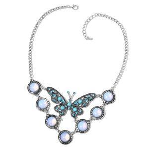 Opalite, Blue Howlite, Blue Austrian Crystal Black